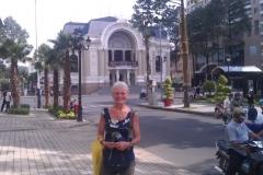 Leslie Sightseeing on Volunteer Trip to Vietnam